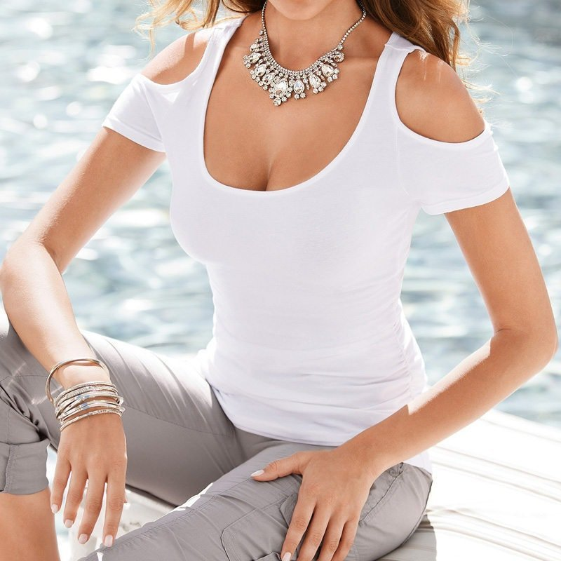 Discount Free Shipping Cwds078 One Shoulder With: Cheap Women Cute White Off The Shoulder Blouse
