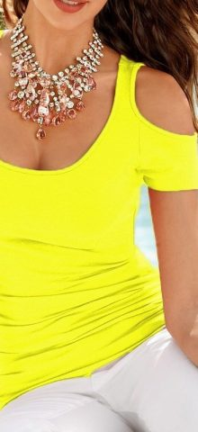 Cheap Women Cute Yellow Off The Shoulder Tees