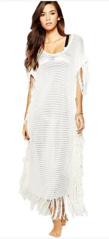Cheap Women White Crochet Swimsuit Cover Up