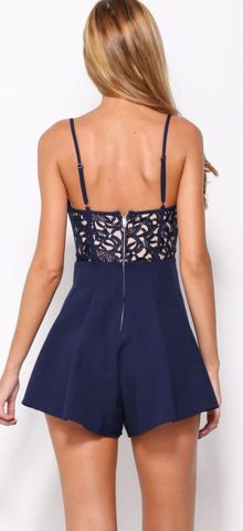 Girl Blue Cut-out Ruffled Rompers For Juniors