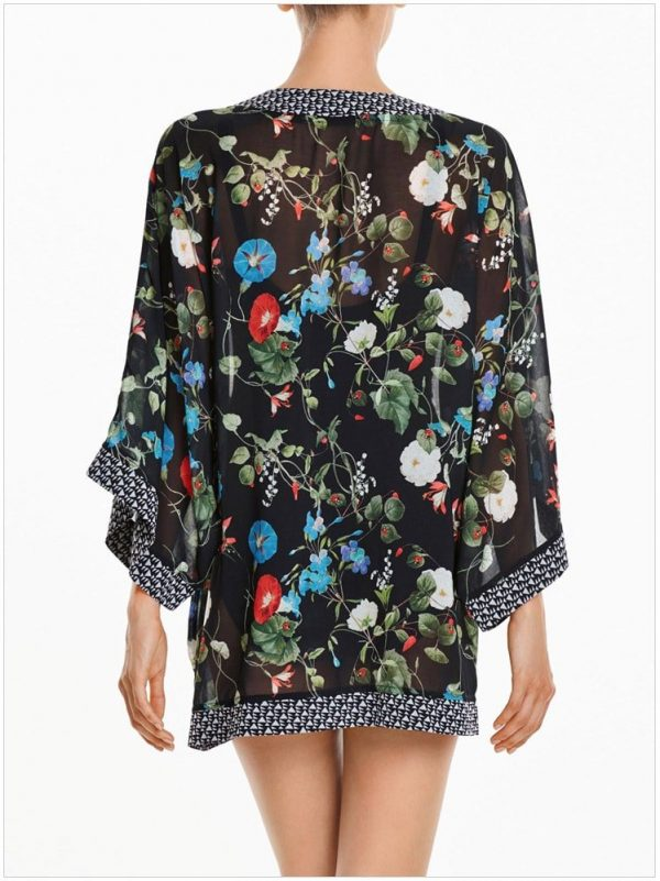 Glory Floral Printed Women Black Swim Cover Up Skirt