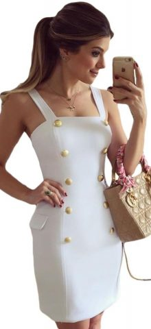 Gold Button Off The Shoulder White Tube Top Mini Dress