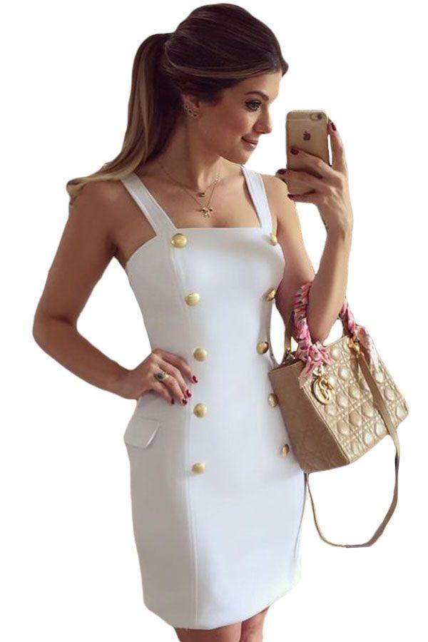 Gold Button Off The Shoulder White Tube Top Mini Dress