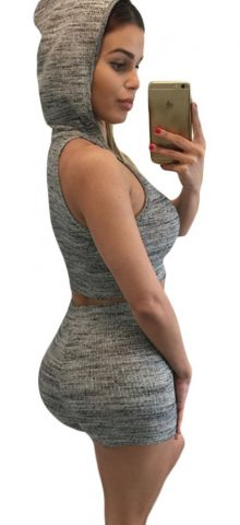 Gray Women Hooded Crop Top With Shorts