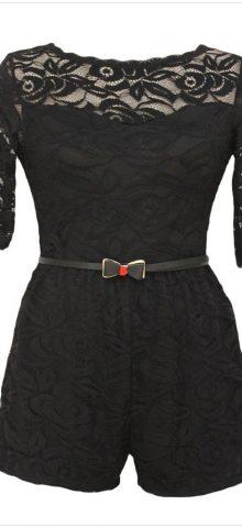 Half Sleeved Belt Accessorized Black Lace Short Rompers