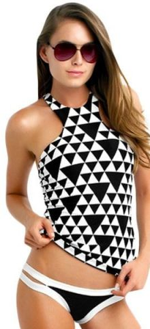 High Neck 2pcs Cropped Blouson Tankini