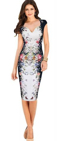 Hualong Women V Neck Floral Plus Size Bodycon Dress