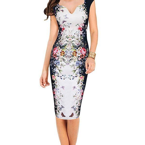 Hualong Women V Neck Floral Plus Size Bodycon Dress