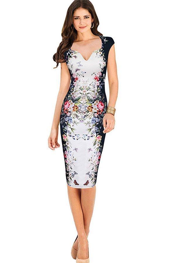 Hualong Women V Neck Floral Plus Size Bodycon Dress Online Store