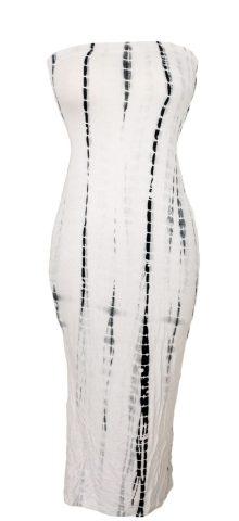 Ladies Elegant Ivory Black Strapless Tube Dress
