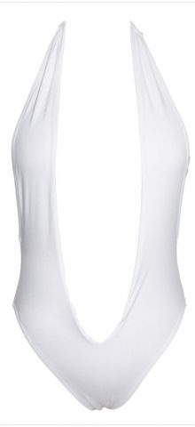 Ladies White Bandeau Halter One Piece Bathing Suits