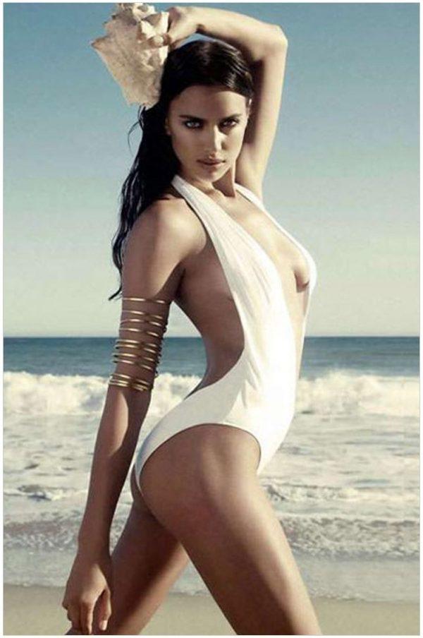Ladies White Bandeau Halter One Piece Bathing Suits