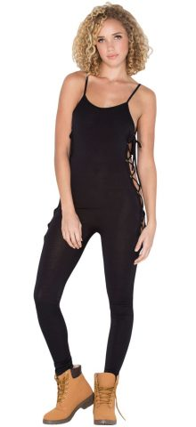 Night Club Women Black Lace-Up Jumpsuit
