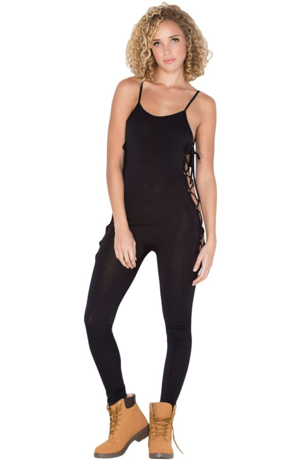 Night Club Women Black Lace-Up Jumpsuit