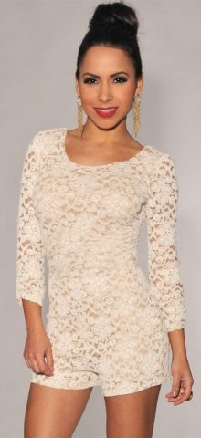 Plus Size Knotted Back White Lace Long Sleeve Romper