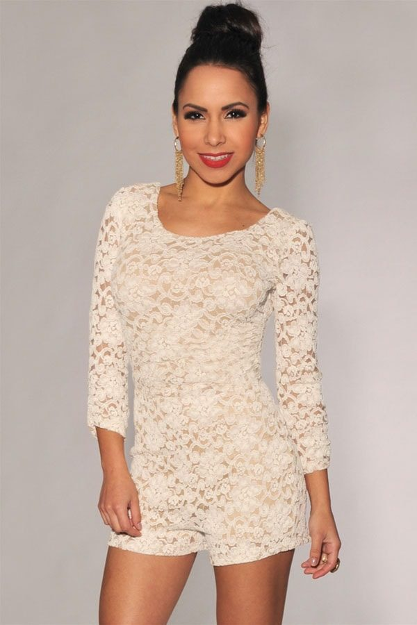 Plus Size Knotted Back White Lace Long Sleeve Romper - Online ...