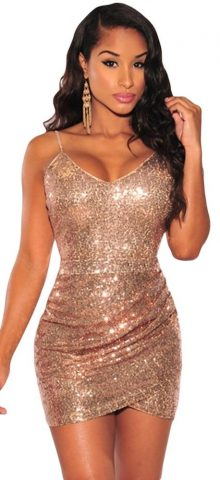 Sexy Club Gold Sleeveless Short Sequin Cocktail Dresses