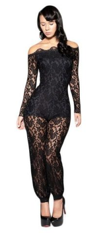 Sexy Long Sleeve Full Body Black Lace Jumpsuit