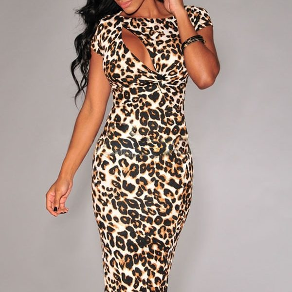 sexy women short sleeves leopard cocktail dress online