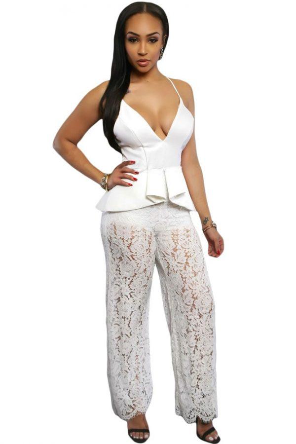 3b9430d40ca0 Spaghetti Straps Leg Lace White Jumpsuit For Women - Online Store ...