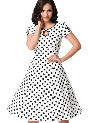 White Black Dotted Gril Short Sleeve 50s Swing Dress