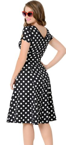 White Black Dotted Gril Summer 1940 Swing Dresses