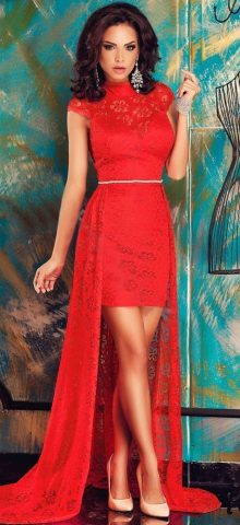 Women Beautiful Long Red Lace Formal Evening Dresses