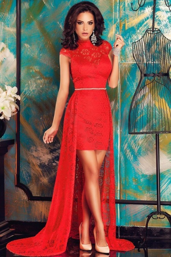 Women Beautiful Long Red Lace Formal Evening Dresses Online Store