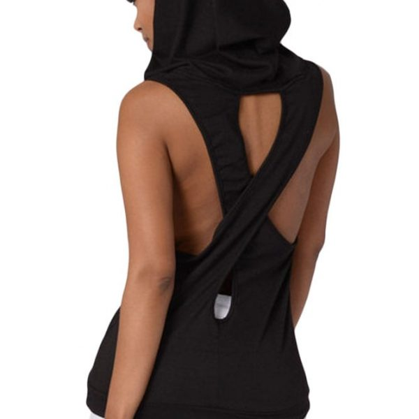 Women Black Cross Back Sleeveless Pullover Hoodie - Online Store ...