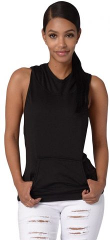 Women Black Cross Back Sleeveless Pullover Hoodie