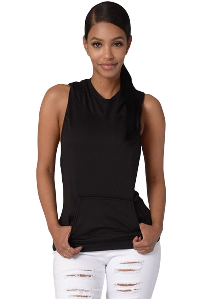 Women Black Cross Back Sleeveless Pullover Hoodie - Online Store for ... d627aa611