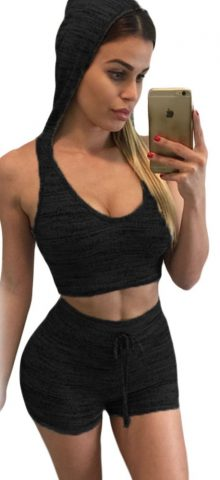 Women Black Hooded Two Piece Sets Shorts And Top