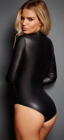 Women Black Long Sleeve Zip Detail Leather Romper