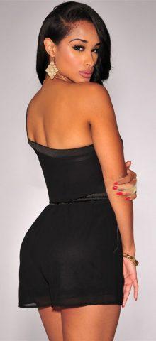 Women Black One Shoulder Drawstring Tube Top Romper