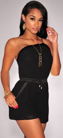 Women Black One Shoulder Drawstring Tube Top Romper