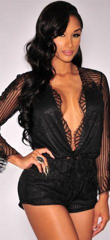 Women Black Sheer Lace Deep V Neck Romper
