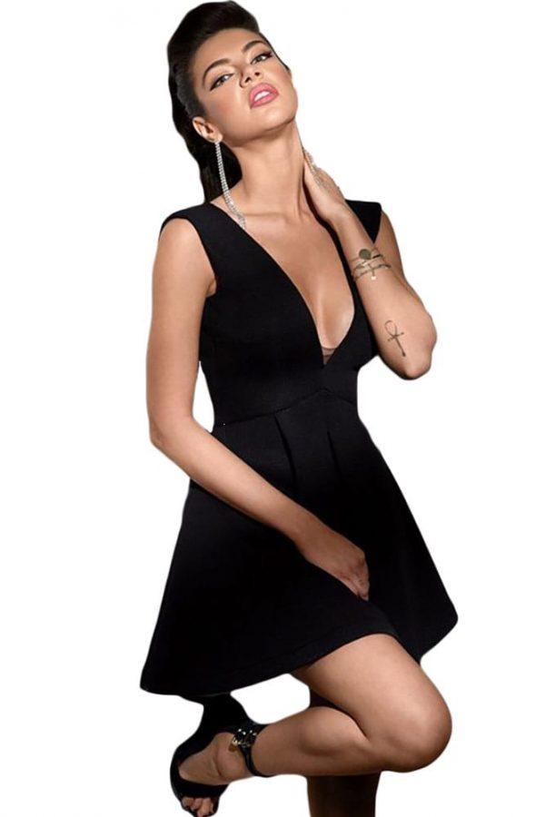 e92ba41543 Women Black Sleeveless Plunging Neckline Skater Dress - Online Store ...