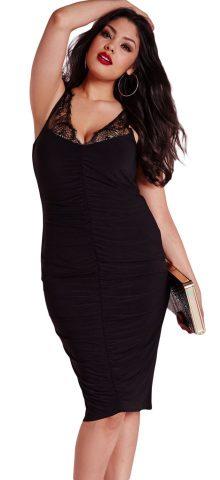 Women Black Slinky Lace Ruched Plus Size Clubwear