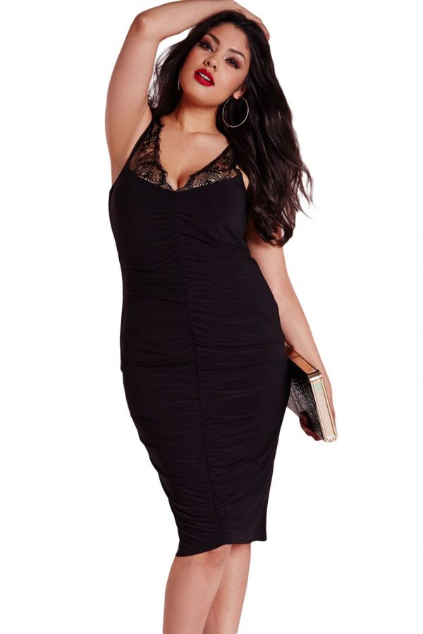 better moderate price clearance sale Women Black Slinky Lace Ruched Plus Size Clubwear