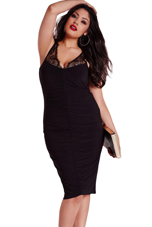 women black slinky lace ruched plus size clubwear  online