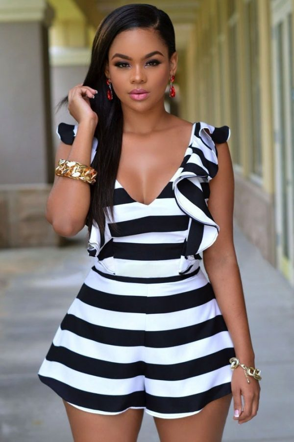 cfde8e135bce5 Women Black White Stripes Ruffle One Piece Romper - Online Store for ...