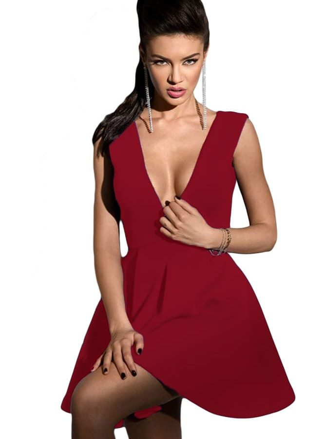 Women Burgundy Sleeveless Deep V Neck Skater Dress - Online Store ...