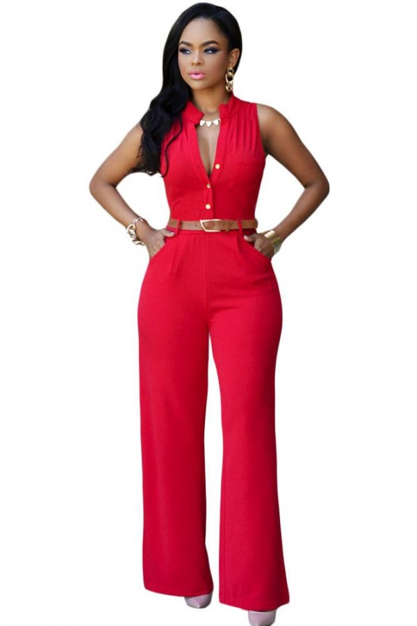 Women Button Front Waistbelt Wide Leg Red Pants Jumpsuit