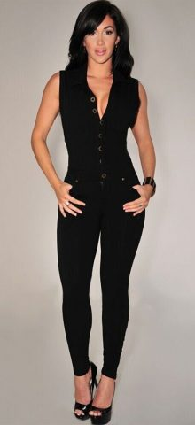 Women Casual Button Front Black Pant Jumpsuit