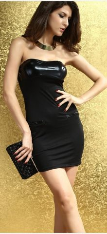 Women Cocktail Black Leather Boob Tube Dress