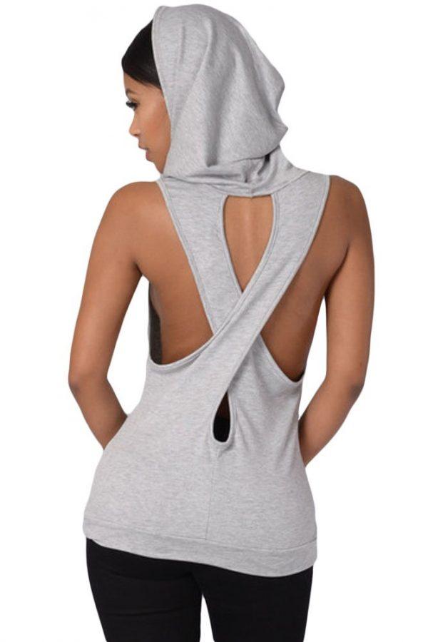 Women Cross Back Grey Sleeveless Hoodie
