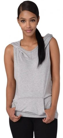 Women Cross Back Grey Sleeveless Hoodie