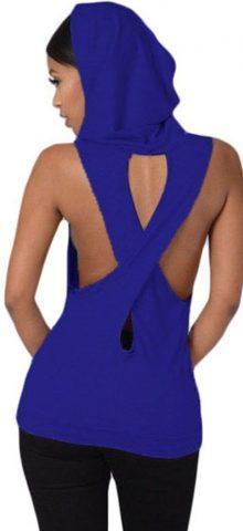 Women Cross Back Royal Blue Sleeveless Hoodie