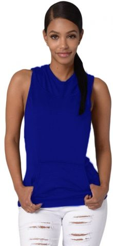 Women Cross Back Royal Blue Sleeveless Hoodie