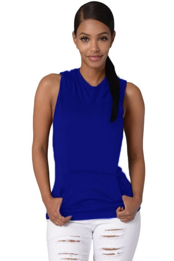 908caf8bb8 Women Cross Back Royal Blue Sleeveless Hoodie - Online Store for ...